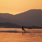water skiing at sunset loch lomond